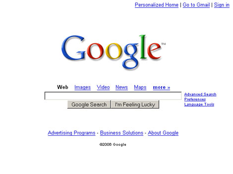 Google homepage screenshot