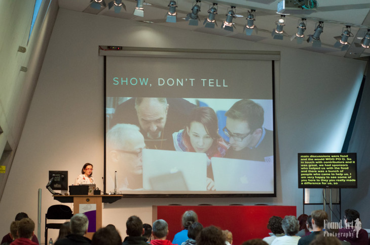Francesca talked about the Italian WordPress community and this sums it all – show, don't tell! (Photo by: Kari Leigh Marucchi)