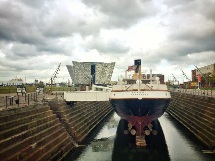 SS Nomadic with Titanic Belfast building in the back